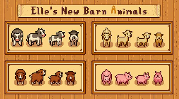 家畜の外見変更MOD「Elle's New Barn Animals (Content Patcher)」 MOD Stardew Valley