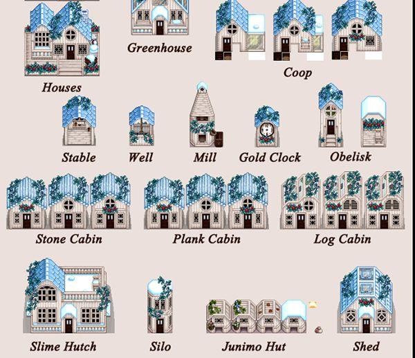 季節で変わるあっさりで可愛い建物テンプレートMOD「Yellog's Wood Buildings (CP) 」 MOD Stardew Valley