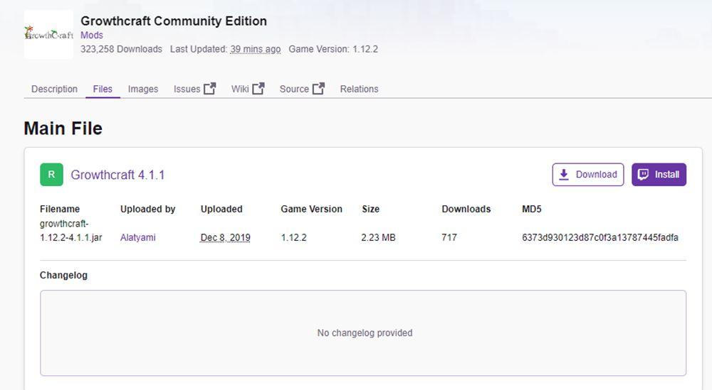 curseforgeのGrowthcraft Community Editionページ