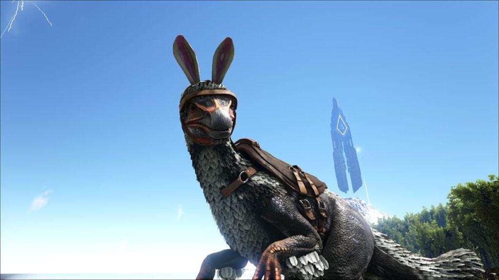 テリジノサウルスの恐竜用のウサギの付け耳スキン