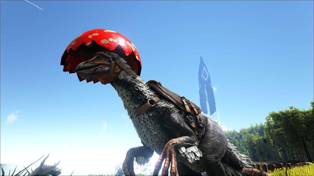 テリジノサウルスの恐竜用のたまご帽スキン