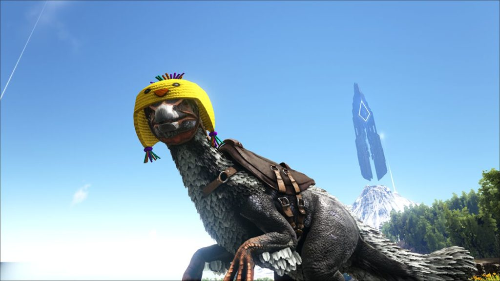 テリジノサウルスの恐竜用のイースターひよこ帽スキン
